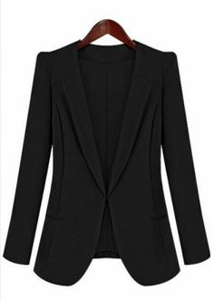 Black Lapel Long Sleeve Slim Pockets Blazer by: SheInside