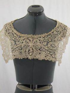 Antique Duchesse Lace Collar Magnificent Ecru | eBay