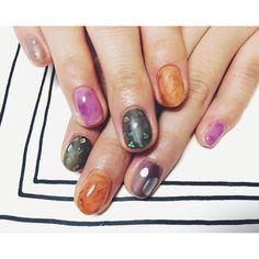 ♪ #nail#art#nailart#ネイル#ネイルアート#autumn#クリアダーク#マットネイル#水彩ネイル#べっ甲#マーブル#ショートネイル#ネイルサロン#nailsalon#表参道