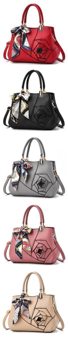 US$32.70 WOMEN Elegant Flower Pattern Scarves Handbag PU Leather Shoulder Bags Crossbody Bag