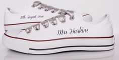 Customised Bridal wedding Converse with Brides name and wedding date and gorgeous silver laces.