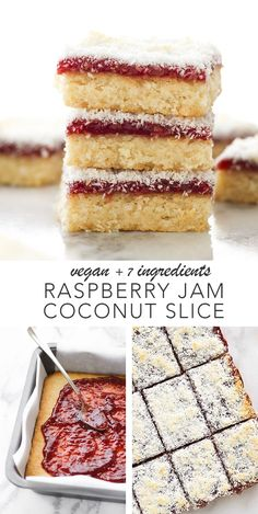 Vegan raspberry jam coconut slice vegan peanut butter cookies easy to make and easier to eat thick soft and chewy homemade peanut butter cookies made in 1 bowl with peanut butter flour sugar vanilla and almond milk are the best! Desserts Végétaliens, Healthy Dessert Recipes, Gourmet Recipes, Sweet Recipes, Vegan Recipes, Plated Desserts, Coconut Desserts, French Desserts, Coconut Recipes