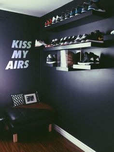 Kiss My Airs Wall Sticker Wall Decal Wall Vinyl Removable Vinyl Bedroom Living Room Art Nike wall sticker Nike Wall Decal Bedroom Setup, Room Ideas Bedroom, Home Bedroom, Bedroom Decor, Ikea Boys Bedroom, Wall Shoe Rack, Shoe Wall, Shoe Shelves, Shoe Racks