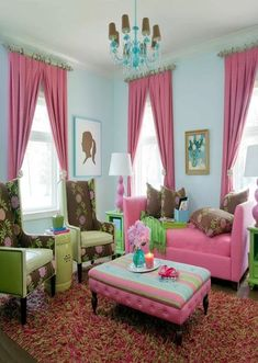 House of Turquoise - really love the pink sofa! Living Room Green, Living Room Colors, Interior Design Living Room, Living Room Designs, House Of Turquoise, Pink Turquoise, Bedroom Turquoise, Aqua, Living Room Furniture