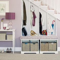 Use storage potential under that stairs to cut down on clutter like kids' backpacks and discarded shoes.