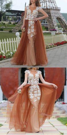Champagne Prom Dress,Mermaid Evening Dress,Cap Sleeves Prom Dress,Elegant Lace Formal Dress