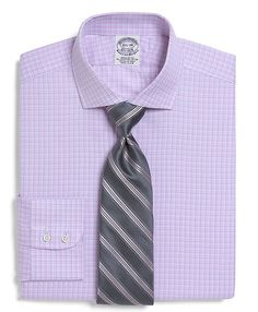 All-Cotton Regular Fit Mini Check Windowpane Luxury Dress Shirt - Brooks Brothers