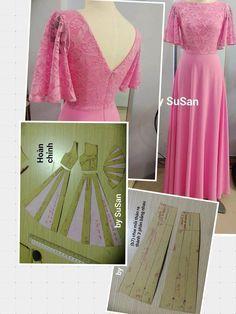 Lace long dress pattern