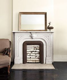 Empty or unused fireplace decor, I like the birch branches as the filler Empty Fireplace Ideas, Unused Fireplace, Faux Fireplace Mantels, Fireplace Logs, Fireplace Cover, Fireplace Inserts, Modern Fireplace, Fireplaces, Fireplace Decorations