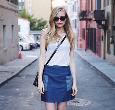 Amatoria High-Waist Denim Skirt with Wrap-Around Pockets, $198.00
