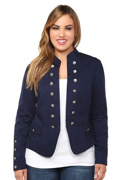 Navy Open-Front Military Jacket
