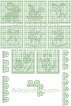 Easter embroidery designs - 10405 Free standing lace Easter crochet squares The Effective Pictures We Offer You About embroidery gifts A quality picture can tell you many things. Filet Crochet, Crochet Chart, Thread Crochet, Crochet Motif, Crochet Doilies, Easter Crochet Patterns, Granny Square Crochet Pattern, Crochet Borders, Crochet Bunny