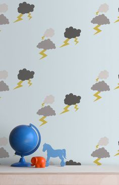 Baines and Fricker Wallpaper from £95/roll. Order online today. Cute cartoon sketches of lighting and fluffy clouds fill the air of Thunder Clouds Wallpaper