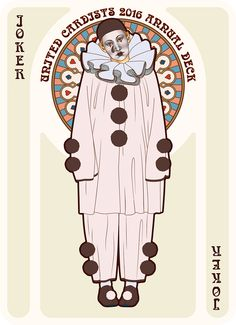 NOUVEAU Pierrot Joker - playing cards art, game, playing cards collection, playing cards project, cards collectors, design, illustration, card game, game, cards, cardist, cardistry