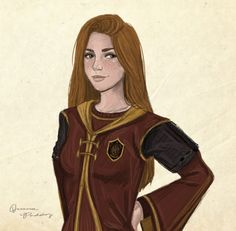 Ginny Weasley from Harry Potter in her quidditch uniform.