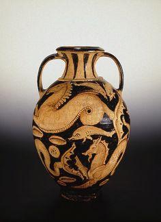 Amphora: Marine Fauna, 325-300s BCE,        Etruria The Hermitage Museum