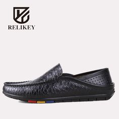 RELIKEY Brand Men Driving Genuine Leather Crocodile Style Causal Male Loafers Classics Summer Slip-On Breathable Men Shoes