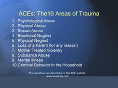 Adverse Childhood Experiences - 10 Types of Trauma