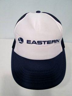 NOS Vintage Eastern Airlines Navy White Uniform Hat Ball Cap One Size  Adjustable  EasternAirlines   fbdd39e9ed80
