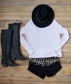 Free People Blog Black Lace Up Boot Black Rancher Hat - White Thermal - Tiered Metal Belt - Black Denim Cutoff Shorts