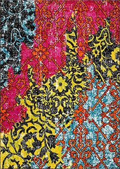 Treehouse Bohemian Patchwork Multi Pink Red Yellow Blue Orange Green Black Oriental Damask 8 x 10  710 x 910  Area Rug Thick Soft Plush Shed Free Easy Clean Stain Resistant