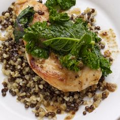 Chicken with Kale and Freekeh-Lentil Pilaf. The dressing is what makes this dish, I used ume vinegar and just a dash of straight sherry.