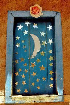 moon and stars blue door