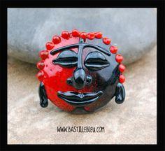 Black n Red Buddha Focal Bead - BBL Handcrafted Lampwork Glass Beads SRA Face Head Asian Indian Zen Lentil