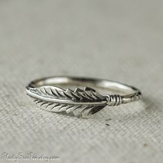 Feather Ring Sterling Silver; Stacking Ring