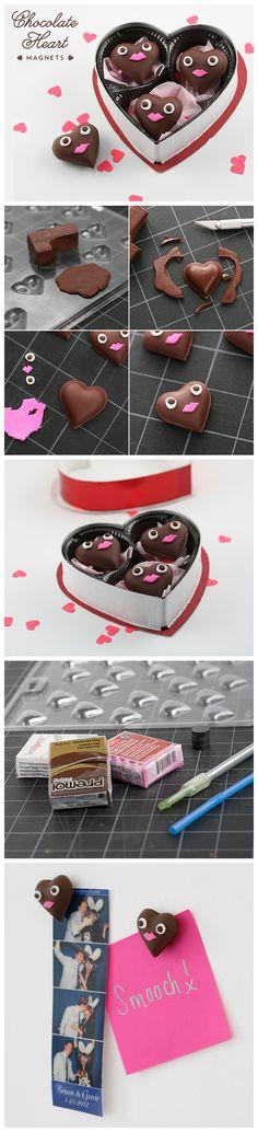 #Diy #Chocolate Heart #Magnets #Tutorial