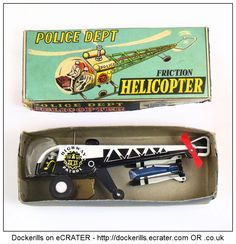 Police Department Helicopter, ICHIMURA, Japan (2 of 2). Vintage Tin Litho Tin Plate Toy. Friction Drive Mechanism.