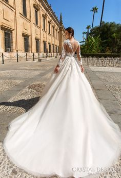 crystal design 2017 bridal long sleeves sweetheart neckline heavily embellished bodice princess lace ball gown wedding dress lace back royal train (elania) bv -- Beautiful Wedding Dresses from the 2017 Crystal Design Collection Sheer Wedding Dress, Princess Wedding Dresses, Dream Wedding Dresses, Bridal Dresses, Wedding Gowns, Dress Lace, Wedding Shot, Wedding Ceremonies, Gorgeous Wedding Dress