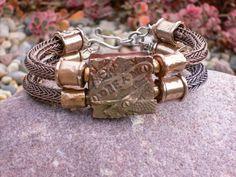 A Viking Knit Bracelet on Etsy - viking knit & 2 hole bead Copper Jewelry, Wire Jewelry, Jewelry Findings, Jewelry Crafts, Silver Jewellery, Jewelery, Knit Bracelet, Woven Bracelets, Leather Bracelets