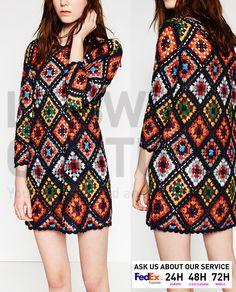ZARA WOMEN SS16 PATCHWORK MINI CROCHET DRESS  Ref.  9598/007 | Clothing, Shoes & Accessories, Women's Clothing, Dresses | eBay!