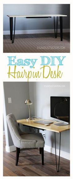 Easy DIY Writing Desk with Pencil Drawer DIY Hairpin Desk with Pencil Drawer Related posts: DIY desk for two using Ikea Alex drawer + a wooden countertop Diy Projects Desk, Furniture Projects, Furniture Plans, Wood Projects, Apartment Furniture, Woodworking Desk Plans, Woodworking Projects That Sell, Woodworking Classes, Woodworking Machinery
