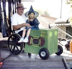 witch goes for a ride on her dad's tractor