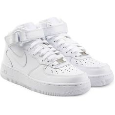 Nike Airforce 1 Suede High Top Sneakers (475 RON) ❤ liked on Polyvore featuring shoes, sneakers, nike, chaussures, white, white lace up sneakers, white trainers, high top shoes, suede shoes and suede high top sneakers
