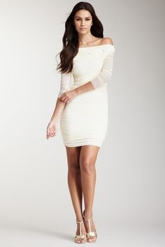 Halston Heritage Shirred Mesh Dress by Blowout on @HauteLook