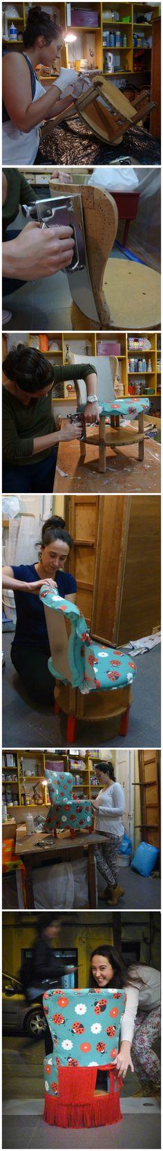 #TreballsAlumnes _La Neus ha acabat la butaqueta de les seves nenes i ha quedat preciosa!!!! i amb un compartiment secret http://www.maiparacas.com/Cursos.aspx?lang=CA