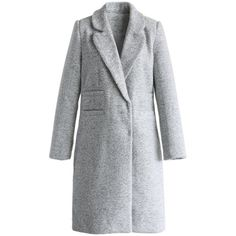 Chicwish Modern Styling Tweed Coat in Icy Grey ($93) ❤ liked on Polyvore featuring outerwear, coats, grey, gray coat, grey coat, gray tweed coat and tweed coat