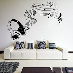 Vinyl Wall Decal Quote Music is life with Headphones /