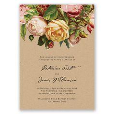 Antique, Vintage Rose - Wedding Invitation - Kraft, Banners, Soft Pink at Invitations By David's Bridal