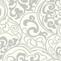 Gold and Pearl Divine Contemporary Scroll Wallpaper
