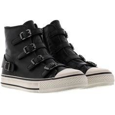 Ash Virgin Sneakers ($135) ❤ liked on Polyvore featuring shoes, sneakers, black, high top trainers, kohl shoes, ash shoes, ash footwear and high top shoes