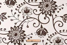 Mood Fabrics : New York Fashion Designer Discount Fabric | HC18011 Off-White/Chocolate Floral Canvas