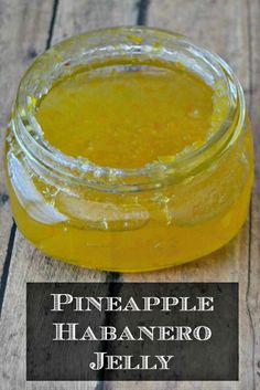 Pineapple Habanero Jelly - serve with cream cheese and crackers and you have an easy and delicious appetizer. Pineapple Jelly Recipes, Jalapeno Jelly Recipes, Habanero Recipes, Pepper Jelly Recipes, Hot Pepper Jelly, Pineapple Jam, Jam Recipes, Canning Recipes, Canning Pineapple
