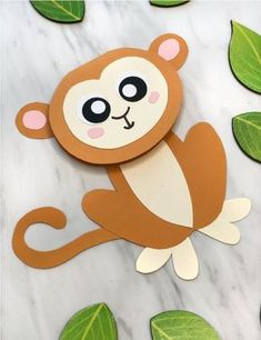 Cute Monkey Craft For Kids (With Free Printable Template) Jungle Animal Craft For Kids Jungle Crafts, Animal Crafts For Kids, Crafts For Kids To Make, Toddler Crafts, Safari Animal Crafts, Monkey Crafts, Sheep Crafts, Bunny Crafts, Craft Activities