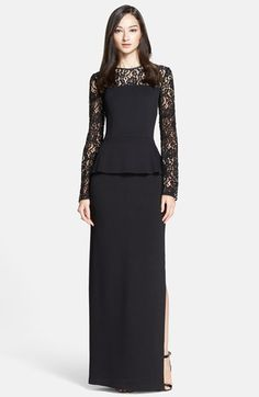 St. John Collection Rose Noir Lace Yoke Satin Peplum Gown available at #Nordstrom