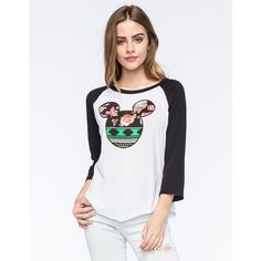Neff Disney Collection Aztec Floral Mickey Womens Raglan Tee ($30) ❤ liked on Polyvore featuring tops, t-shirts, raglan t shirt, floral t shirt, graphic t shirts, neff tees and neff t shirts