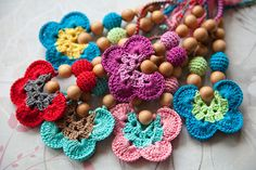 teething toys. butterfiles. wooden beads.